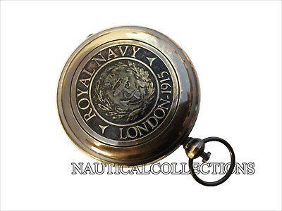 Brass Antique Compass Royal Navy London Vintage Gift Pocket Push Button Compass