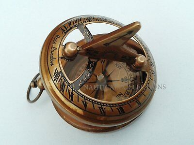 Brass Sundial Compass Brown Antique Vintage Pocket Push Button Sundial Compass
