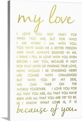 Solid-Faced Canvas Print Wall Art entitled Love Letter in Gold