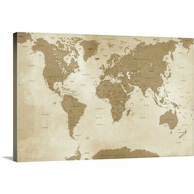 Antique style world wall map wall map laminated illustrated premium thick wrap canvas wall art entitled antique style world map publicscrutiny Gallery