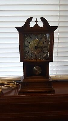 "Vintage Miniature Electric Grandfather Clock By Sunbeam Plastic Walnut Wood 9"" H"