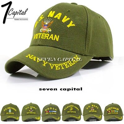 US Tactical Army Navy Marine Air Force Veteran Adjustable Green Baseball Cap Hat