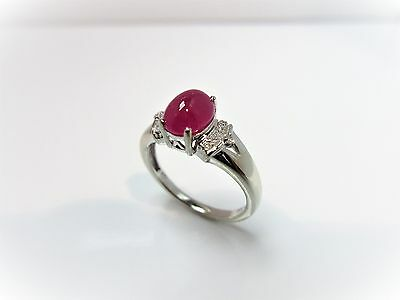 10kt White Gold 1.12ct TW Genuine Cabochon Ruby and Diamond Ring