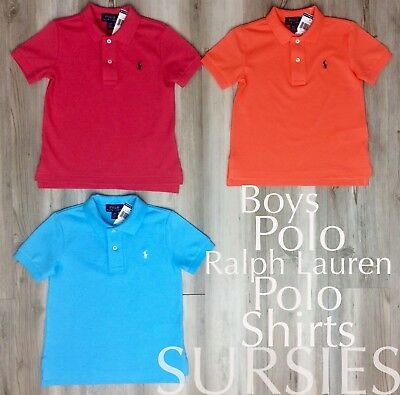 POLO RALPH LAUREN SHIRT Boys Classic Polo Orange, Turquoise & Pink ALL SIZES