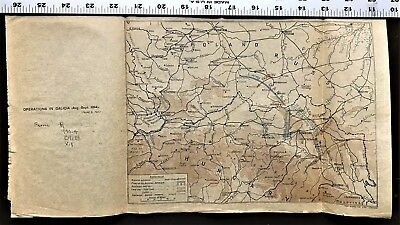"WW1 Map on Vellum World War 1 ""Operations in Galacia in 1914"" - Antique and Rare"
