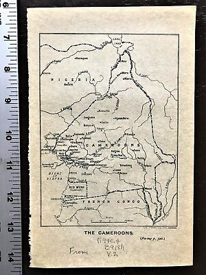"WWI Vellum MAP World War 1  ""THE CAMEROONS""  Africa WW1 Antique & Rare"