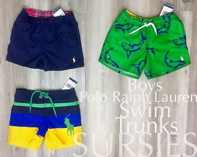 POLO RALPH LAUREN SWIM TRUNKS Boys Solid Navy, Color Block, & Shark ALL SIZES