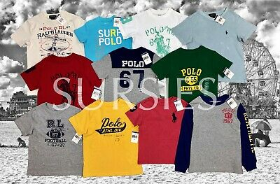 POLO RALPH LAUREN T SHIRT SHIRT Boys Crewneck Solid & Graphic T-SHIRTS ALL SIZES