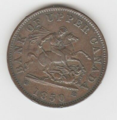 1850 Bank Of Upper Canada One Penny Bank Token-Very Nice-