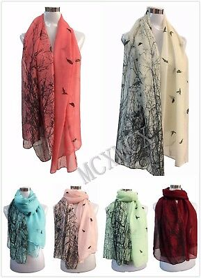 Women Lady Long Fashion Black Bird With Tree Branch Pattern Shawl Scarf Scarves