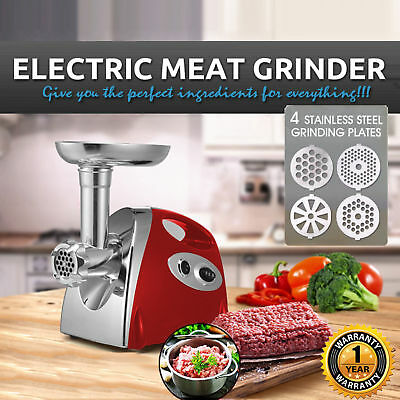 Electric Meat Grinder Stainless Steel Sausage Kubbe Attachment w/4 Blades, 2800W