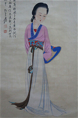 Excellent Chinese 100% Hand Painting & Scroll Beauty By Zhang Daqian 张大千 BM369