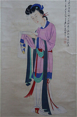 Excellent Chinese 100% Hand Painting & Scroll Beauty By Zhang Daqian 张大千 AD389