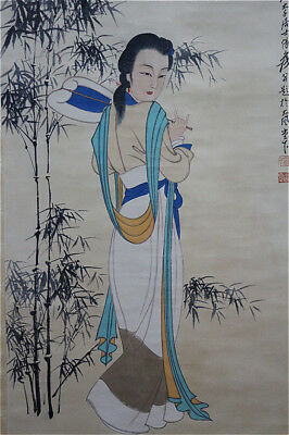 Excellent Chinese 100% Hand Painting & Scroll Beauty By Zhang Daqian 张大千 MSLD38