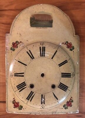 Antique Hand Painted Wood Clock Face From German Wag On The Wall Folk Art Flower
