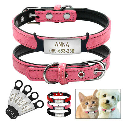 Personalized Custom Suede Dog Collar With Stainless Steel Slide-on 3/4'' Tags