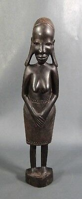 Vintage African Carved Ebony Wood Woman Female Nude Tribal Art Sculpture Statue
