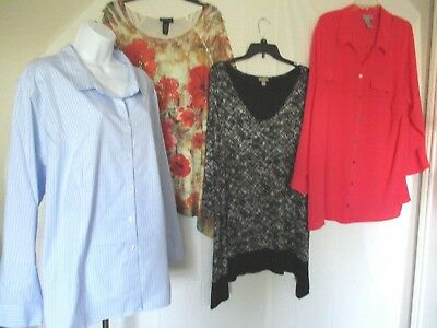 3X Womens Plus Size Catherines Maggie Barnes J.Jill Lot of 4 Top Blouses D-1
