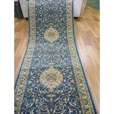 Hallway Runner Hall Runner Rug Traditional Blue 4 Metres Long x 80cm Wide 800BL