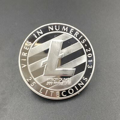 Silver Plated LTC Coin Commemorative Physical Litecoin Collectible Miner Coin K