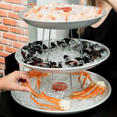 3 Tier Aluminum Hotel Buffet Seafood Tower Catering Food Display Stand Set