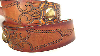 Vtg Leegin U.S.A. Tooled/Stamped Hippie/Western Concho/Stud Leather Belt-30