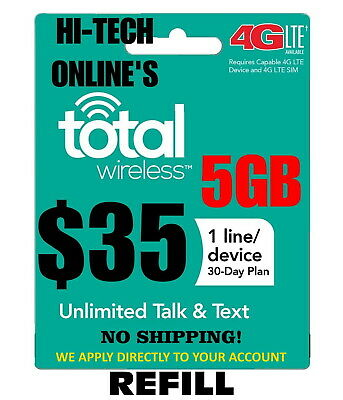 $35 Total Wireless  Refill Re-Up Month Messaged To You Fast!