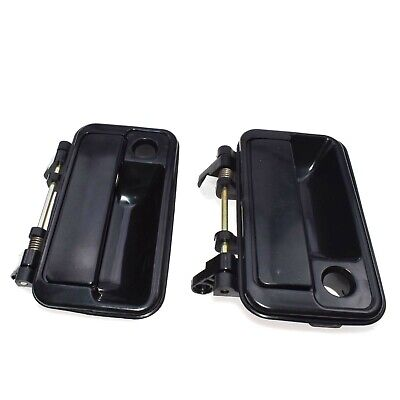 2 FOR 89-94 Geo Front Outside Outer Exterior Black Door Handle Left Driver Side