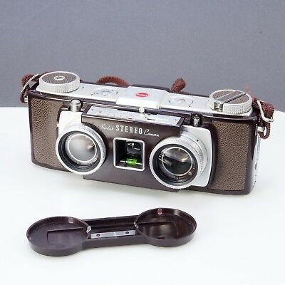 ^ Kodak Brown Stereo Camera 35mm Vintage Antique 1950s w/ Cap & Strap 809
