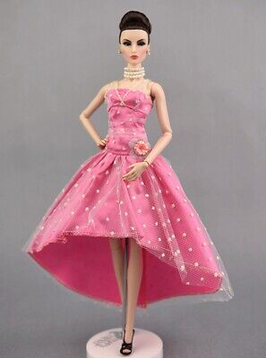 Pink Dotted Party Dresses Evening Gown Clothes For 11.5inch Doll kids Toy 1:6