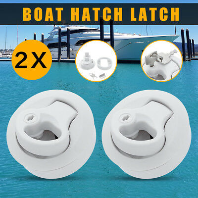 2Pcs Slam Latch Hatch Flush Pull w/Lock 1/2'' Door For M1-43 RV Marine Boat Ship