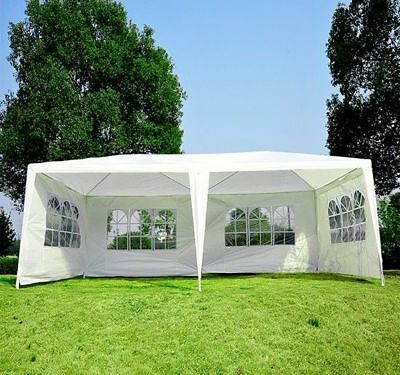 10x20ft Gazebo Canopy Party Tent Shelter w/ 4 Removable Window Side Walls
