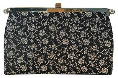 Vintage 1950's Black and Gold Print 4-in-1 L & M Bag by Edwards