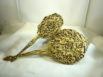 Collectable 1960's Vintage Gold Tone Metal Hand Mirror and brush set