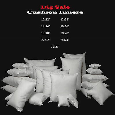 """Cushion Pads Hollowfibre Inserts Fillers, Inner 12"""" 14""""16""""18""""20"""" 22"""" 24"""" 26"""""""