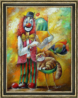 "36"" Hand-painted Original Oil painting art abstract decoration clown On Canvas"