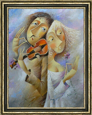 """Hand-painted Original Oil painting art abstract girl Play On Canvas 24X36"""""""