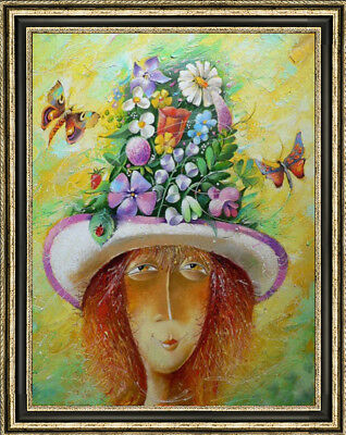 """Hand-painted Original Oil painting art abstract decoration Girl On Canvas 24X36"""""""