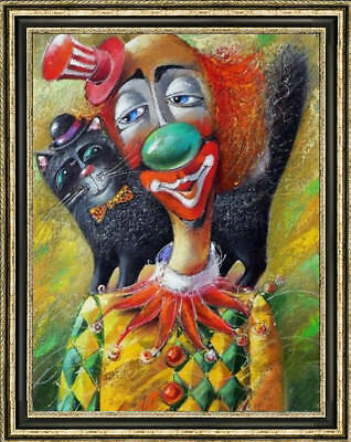 Hand-painted Original Oil painting art abstract clown On Canvas 24X36""