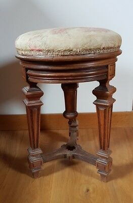 Ancien tabouret de piano bois French antique stool
