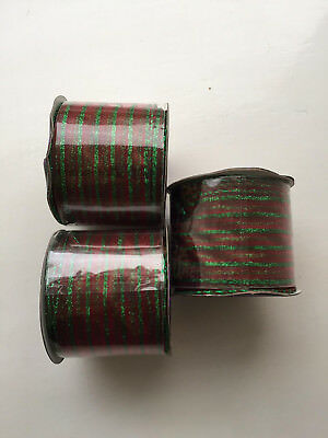3 x Rolls Red Green Wired Christmas Ribbon each roll 3 metre long 2.5 inch width