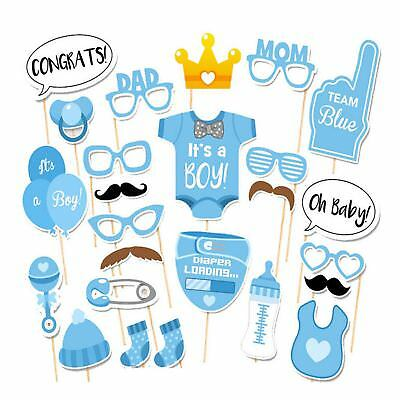 25pc Baby Shower Boy Photo Booth Props Gender Reveal Selfie New Born Party Decor