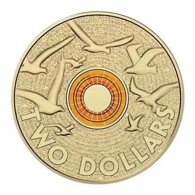 $2 two dollar coin 2015 - ANZAC Remembrance Peace Doves - ORANGE - CIRCULATED