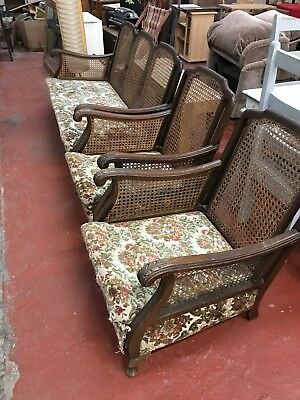 Antique Bergere suite - sofa and two armchairs in need of repair