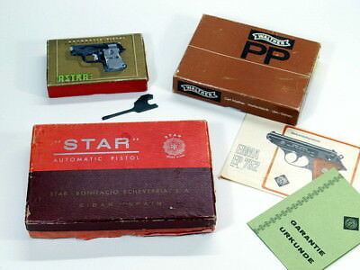 3 Stk alte PISTOLENSCHACHTEL WALTHER PP Astra Automatic Star Automatic Pistole