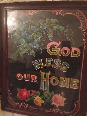 Victorian religious motto - God Bless Our Home - cabbage roses
