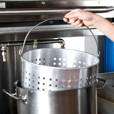 60 Qt. Round Silver Aluminum Stock Pot Steamer Basket NEW
