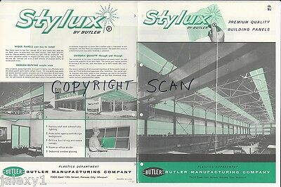 1961 BUTLER STYLUX Plastic Building Panels Connect w ASBESTOS Sheets Vtg Catalog