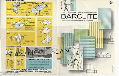 1961 BARCLITE Decorative Fiberglass PANELS Connect to ASBESTOS Sheets Catalog
