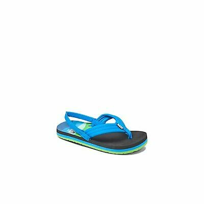 Kids Reef AHI Blue T-Rex Dinosaur Flip Flop Sandals with Backstrap Size